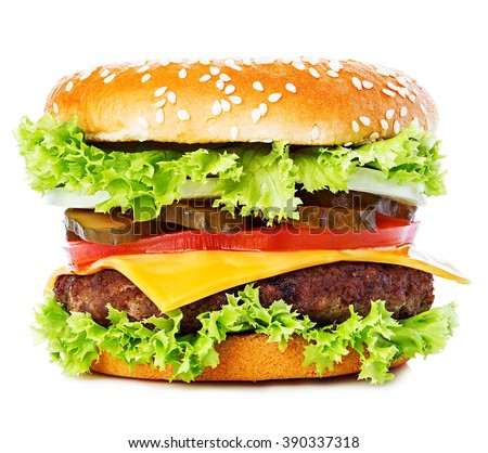 Big burger, hamburger, cheeseburger close-up isolated on a white background. - stock photo