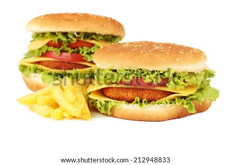 Big burgers isolated on white