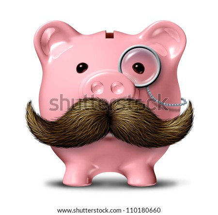 Big business and financial wealth symbol as a piggy bank  with a big mustache and a monocle as a finance concept of getting rich by saving money on a white background. - stock photo