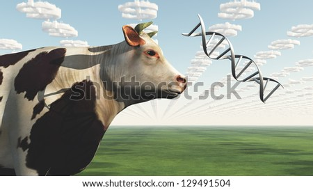 Big Business Profit GMO Cow - stock photo