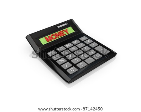 Big calc with a word MONEY on a screen.Isolated on white background.3d rendered. - stock photo