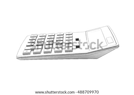 Big calculator isolated on white background.Imitation of pencil drawing.