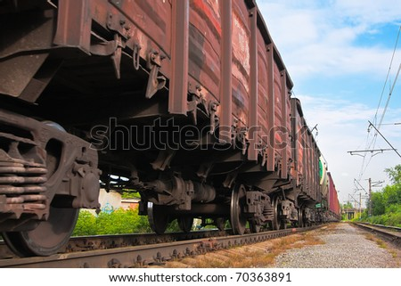 Big cargo transportation in tanks by rail - stock photo