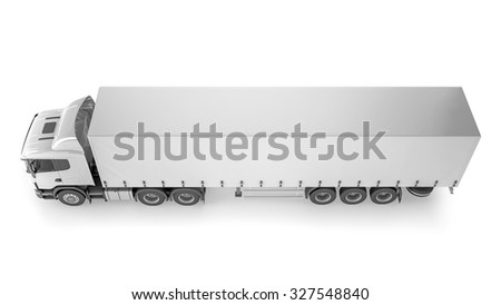 Big Cargo Truck on white background. Isolated on white. Place your creative on this blank background.