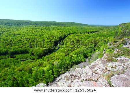 Big Carp River at Porcupine Mountains State Park in Michigan - stock photo