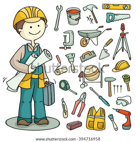 Big cartoon set of  builder and operating tools. Cute collection of constructor and building subjects. Illustration isolated on white. Each element is grouped separately. - stock photo