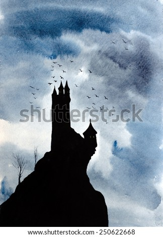 big castle on the hill - stock photo
