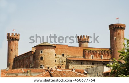 Big castle with round towers, horizontal image - stock photo