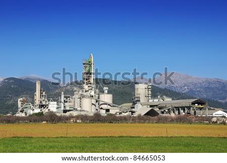 Big Cement Factory in Majorca (Balearic Islands - Spain) - stock photo