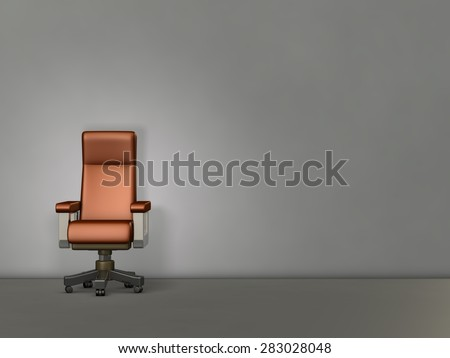 Big chair in front of the wall. It's a symbol of authority. - stock photo