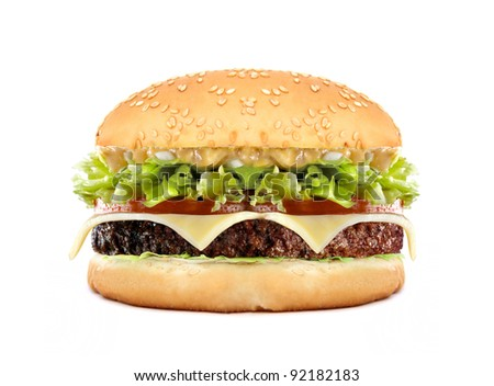 big cheeseburger isolated on white