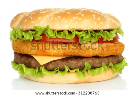 Big chicken and beef hamburger on white background