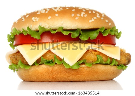 Big chicken hamburger on white background - stock photo