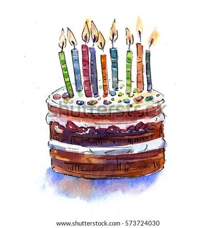 Big Chocolate Birthday Cake Candles Birthday Stock Illustration
