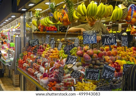Big choice on fresh fruits on a market - BARCELONA / SPAIN - OCTOBER 5, 2016
