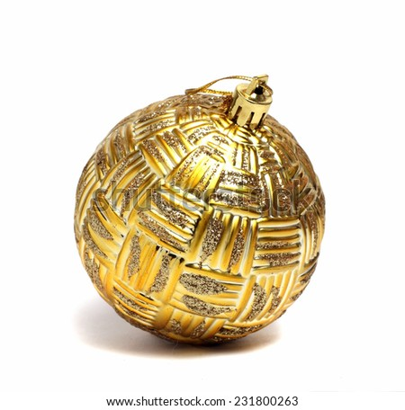 big Christmas ball golden color on a white background