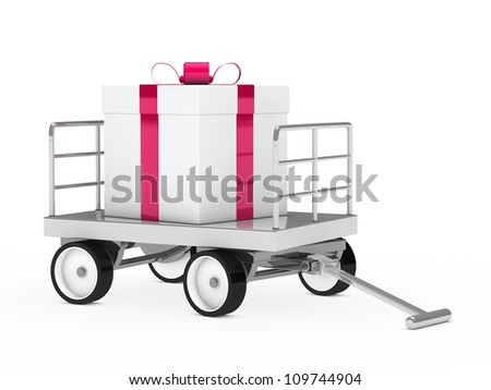 big christmas gift pink white on trolley