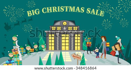 Big christmas sale glowing shop. Discount and holiday season, Christmas bright, new year, purchase and winter celebration, firework and offer promotion, retail shopping illustration. Raster version - stock photo