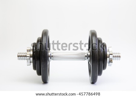 big chrome metal dumbell with disks