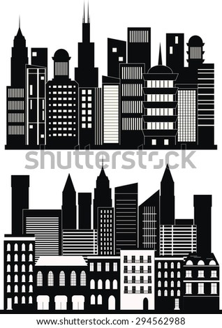 Big city background in black and white.