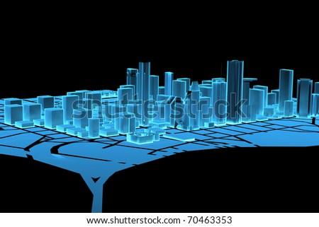 Big City (3D xray blue transparent) - stock photo