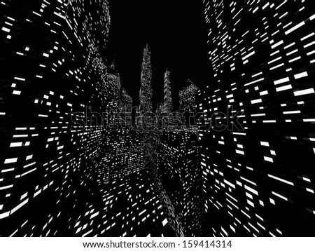 Big city night scene rendered on dark - stock photo