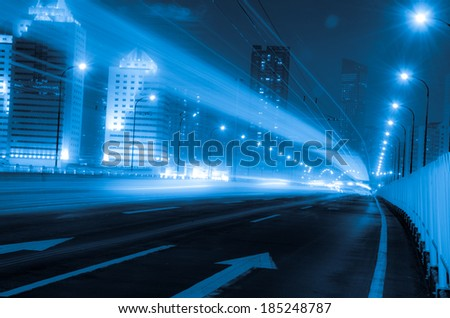Big city road car lights at night