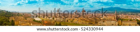 Big cityscape panorama of Arno river, towers and cathedrals of Florence
