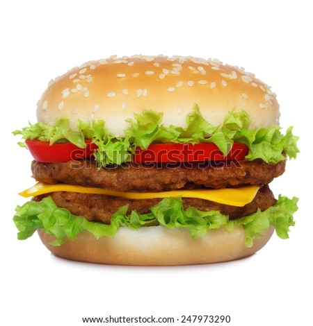 Big classic hamburger isolated on white