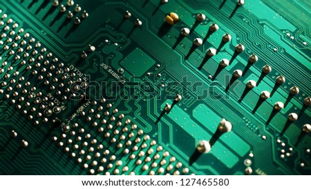 Big Close Up of Motherboard or Mainboard. - stock photo