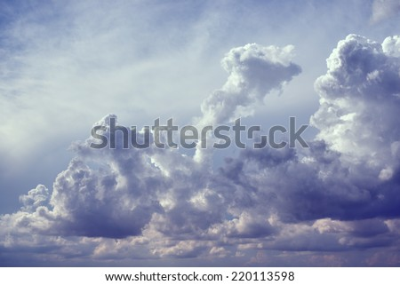 Big clouds in the skies. - stock photo