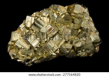 Big cluster of pyrite cubes from Elba, Italy - stock photo