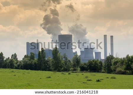 big coal power plant in germany - stock photo