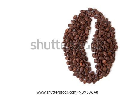Big coffee bean shape made of coffee beans, white background, copyspace - stock photo