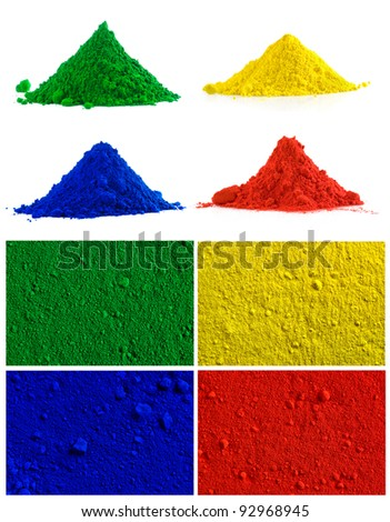 Big collection of colorful powder - yellow, red, green, blue