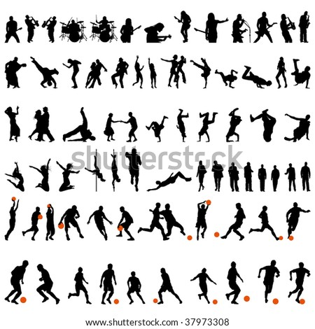 big collection of different people silhouette. Dance and sport.