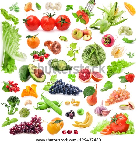 Big Collection of fruits and vegetables isolated on white background - stock photo