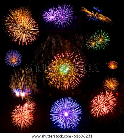 Big collection of real fireworks isolated on black background - stock photo