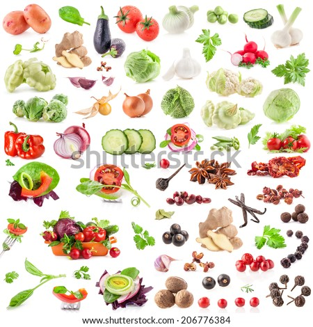 Big Collection of vegetables and spices isolated on white background - stock photo
