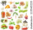 Big collection of vegetables food isolated on white background - stock photo