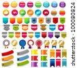 Big Collection Sale Stickers And Web Ribbons Set - stock vector