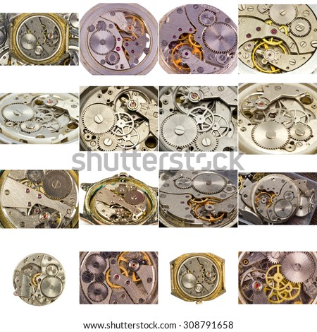 Big collection. Watches photographed close-up on a large scale - stock photo