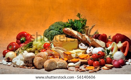 big collection with food and fresh vegetables - stock photo