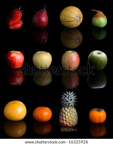 Big collection with lots fruits on black .