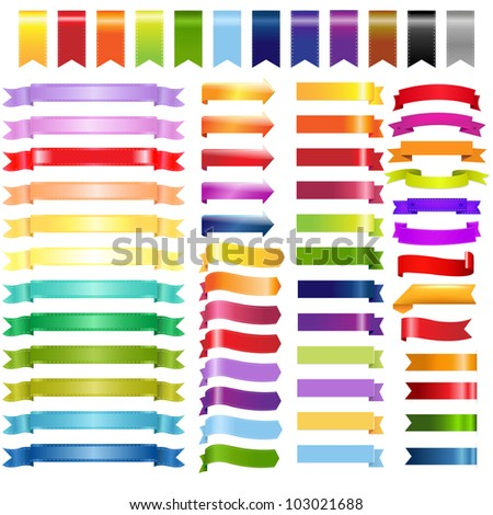 Big Color Web Ribbons And Arrows, Isolated On White Background