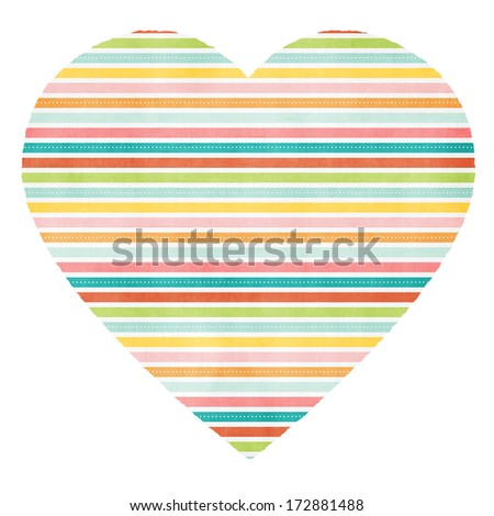 Big colorful heart. Heart decorated with colored lines and dots on a white background.  - stock photo