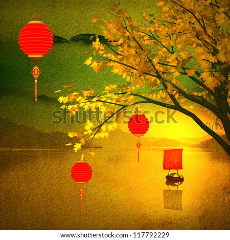 Big colorful lanterns will bring good luck and peace to prayer during Mid-Autumn Festival or Chinese New Year