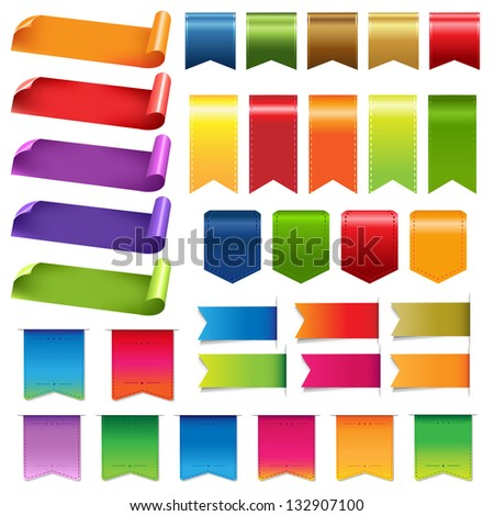 Big Colorful Ribbons And Design Elements, Isolated On White Background - stock photo