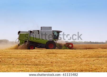 Big  combine working on the Wheat field - stock photo