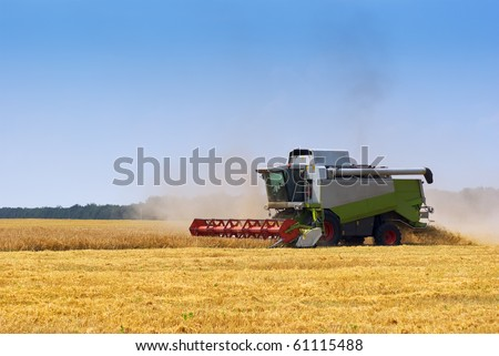 Big  combine working on the Wheat field - stock photo